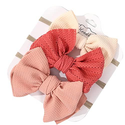 PHILSP Baberos para bebés 3 Piezas/Set Color sólido Bebé Banda elástica para el Cabello Turbante Princesa Bowknot Diadema 8