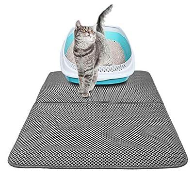 Cat Litter Mat, Cat Litter Box Mat Scatter Control,Waterproof Double Layer Honeycomb Design,Easy Clean Washable EVA Material (L, Grey)