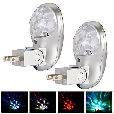 Plug in Night Light, Emotionlite LED Projector Nightlight, Dusk to Dawn Sensor, Multi Colored Rotates for Kids Adults Bedroom Bathroom Hallway Stairways Kitchen Corridor, UL Listed, 2 Pack