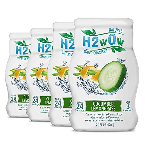 H2wOw Water Enhancer Drops – ORGANIC & Natural Extracts of Real Fruit - a Hint of Organic Stevia - Makes 768 oz of Delicious Cucumber Lemongrass Flavored Water