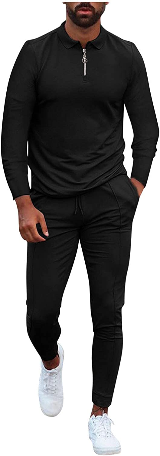 FUNEY Mens 2 Piece Outfitts Long Sleeve Zipper Henley Shirts and Elastic Waist Drawstring Jogger Pants Sports Suits Tracksuit
