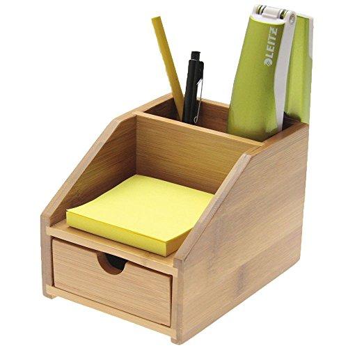 Bambú Pequeño Organizador de Papelería para Escritorio 3 Compartimentos,Titular de la Pluma, Titular de Notas