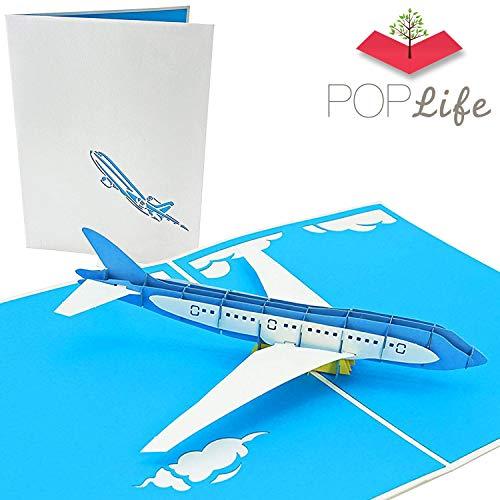 PopLife Cards Jet-Flugzeug Vatertag Popup-Karte für alle Gelegenheiten Vatertag, alles Gute zum Geburtstag, Abschluss, Ruhestand, Arbeit Jahrestag, congrats Piloten, Flugzeug Reisende Falten flach fü