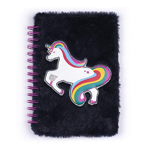 Tri-Coastal Design - Notizbuch für Mädchen aus Plüsch mit Hardcover, Spirale und Kunstfellbezug (Unicorno Blu)