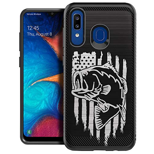 CasesOnDeck Heavy Duty Case Compatible with [Samsung Galaxy A20 / Samsung A30] [Embossed Duo] Slim Fitted Grip Design Case (Fishing USA Bass)