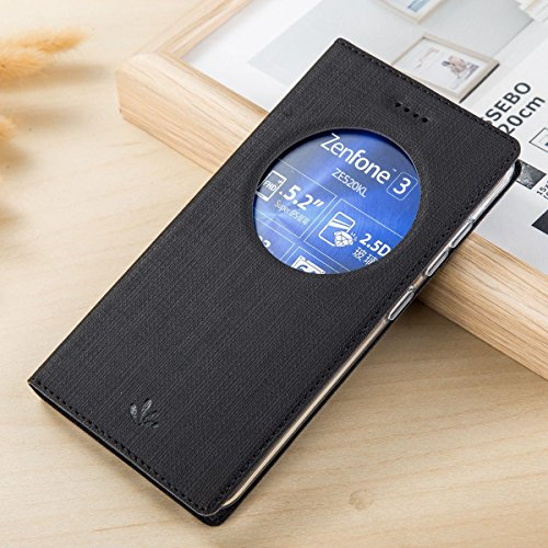 Yoota Cover ZenFone 3 ZE520KL, Slim Cover Portafoglio Copertura per ASUS ZenFone 3 ZE520KL Antiurto Custodia Protettiva in Pelle PU Flip Case con View Window (Nero)