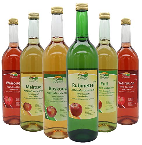 Bleichhof sortenreine Apfelsäfte - 2x Weirouge 0,72L, Rubinette 0,72L, Boskoop 0,72L, Melrose 0,72L, Fuji 0,72L (6x 0,72L)