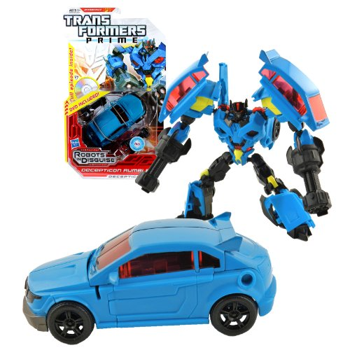 Hasbro Year 2012 Transformers Robots in Disguise Prime Series 1 Deluxe Class 6 Inch Tall Robot Action Figure #14 - Decepticon RUMBLE with Snap-On Pile Drivers Plus Bonus Full Episode DVD (Vehicle Mode: Tuner Car) by Transformers