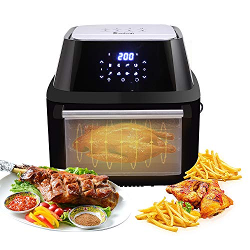 ROVSUN ZOKOP 16.9 Quarts Air Fryer Family Size 1800W ETL Listed All-in-One Air Fryer Oven, Rotisserie, Dehydrator, Oilless Cooker, 8 Cooking Presets, 9 Accessories LED Touch Screen Auto-Shutoff Safety Black