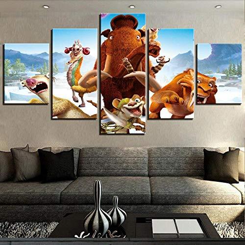 MIYCOLOR HD Print Leinwand Bild Moderne Wandkunst 5 Stücke Cartoon Movie Ice Age Tiere Tiger Malerei Winter Poster Wohnkultur, ungerahmt 30X40 30X60 30X80 cm