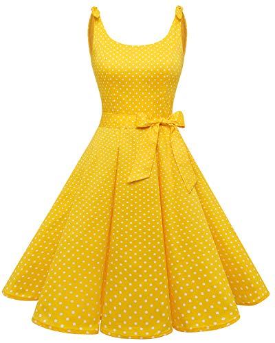 Bbonlinedress - Vestido de cóctel de los años 50, diseño vintage de lunares, pinup, retro Color amarillo y blanco. XXL