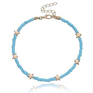 1pc stile bohemien decor perline braccialetto alla caviglia stelle cuore farfalla decor carino perline cavigliera gioielli...