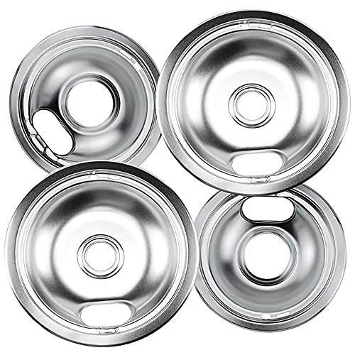 Senmubery Range Drip Pans 6 inch W10196406 and 8 inch W10196405 Set Compatible for W10278125 W10196405 W10196406
