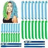 32Pcs Magic Spiral Lockenwickler Set Haarstyling Werkzeuge Keine Hitze Flexible DIY Lockenwickler mit Styling Haken für Frauen Mädchen (Grün und Blau, 30cm/55cm)