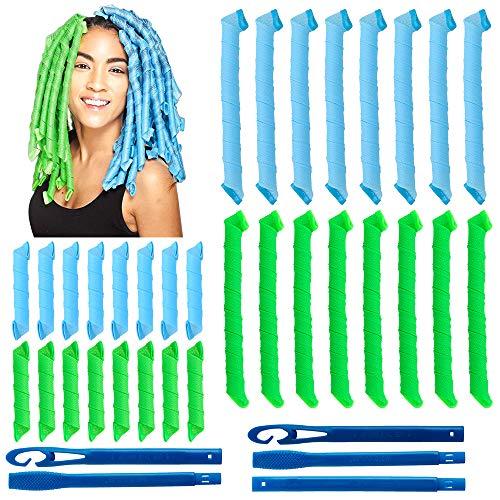 32 piezas de rizadores de pelo en espiral mágicos, juego de herramientas de peinadosin calor flexibles rulos para el cabello con ganchos de peinado para mujeres y niñas (verde y azul, 30cm/55cm)