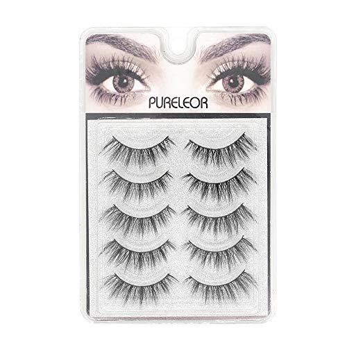 PURELEOR 3D Mink Eyelashes&Natural Dramatic Style Wispies Handmade Eyelash Soft Long Reusable Makeup Fake Eye lash 5Pack