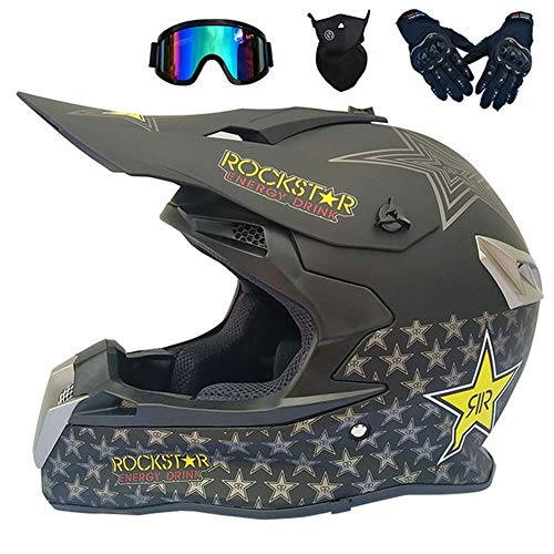 Casco Motocross Nero Rockstar (4 PCS, Casco Cross/Occhiali/Mascherina/Guanti) Adulto off-Road Casco Integrale MTB Downhill Moto Enduro Motard Quad Scooter Uomo Donna,M