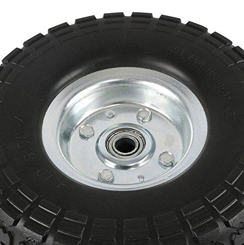 go2buy 4 Pcs 10-Inch Solid Rubber Tyre Wheels for Garden Utility Wagon Cart Trolley Tires Snowblower Lawn Mower Wheelbarrow Generator Hand Cart 5/8-inch Bearings Black