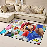 Super Mario Alfombra de área grande pequeña alfombra antideslizante para dormitorio de los niños, Mario, Princesa Peach, Waluigi, poliéster, A, 5'x6'(150cmxG180cm)