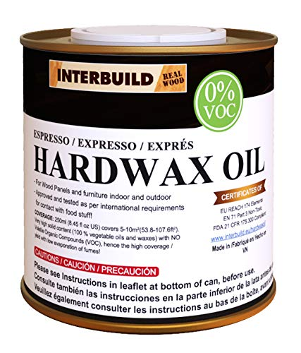 INTERBUILD HARDWAX Oil lebensmittelecht Zero VOC (Espresso) 250ml=Deckt 10 m2