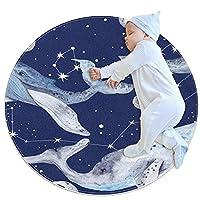 洗濯機で洗えるラウンドエリアラグ屋内ウルトラソフトベッドルームフロアソファリビングルーム寮小さな円形カーペット2.6フィート、宇宙神秘的な星空クジラ動物