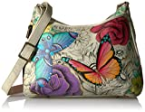 Anna by Anuschka Women's Genuine Leather Medium Hobo Handbag | Hand Painted Original Artwork | Zip-Top Crossbody | Floral Paradise