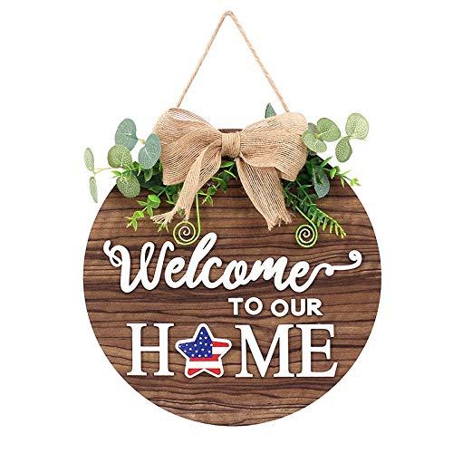 Yumfoz Letrero de bienvenida para puerta delantera, letreros de madera de granja rústica de bienvenida para colgar en la pared de la ventana de la puerta