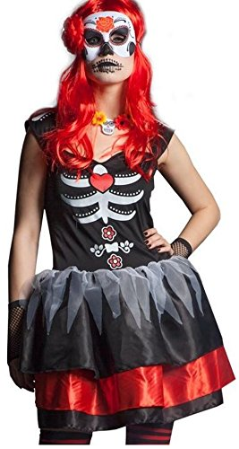 Folat - Day of the Dead jurk met masker S/M veelkleurig