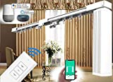 """SimpleSmart - Remote Control Electric Curtain Tracks (4M / 158"""") - Alexa Smart Drape Rail System, Automated Motorized Drapery Rods, Easy to Control by Voice/Mobile apps/Remote/Timer [4M (158"""")]"""