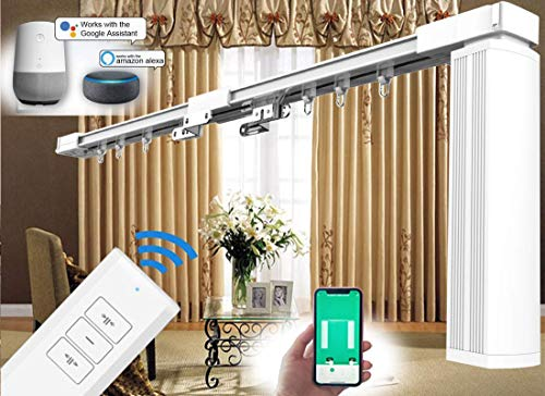 """SimpleSmart - Motorized Curtain Tracks, Electric Drapery System, Electric Curtain Tracks (7 to 20 feet), DIY Length by Cutting Short, Power Curtain Tracks (3M (119""""))"""