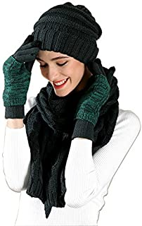 Warm Scarf Glove Hat Beanie Set Cable Knit Cashmere Like Winter Gift Set Pom Cap