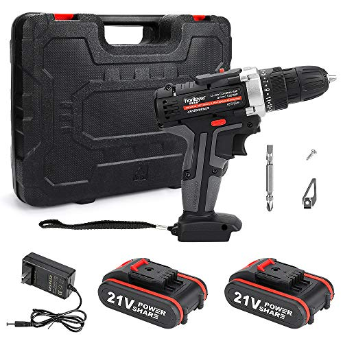 Global-store 21V Cordless Drill, 25+1 Torque Setting Drill Driver 3/8' Keyless Chuck Electric Screwdriver 2 Variable Speed Cordless Impact Drill with 2 Battery, Built-in LED for Drill Wall Brick Wood