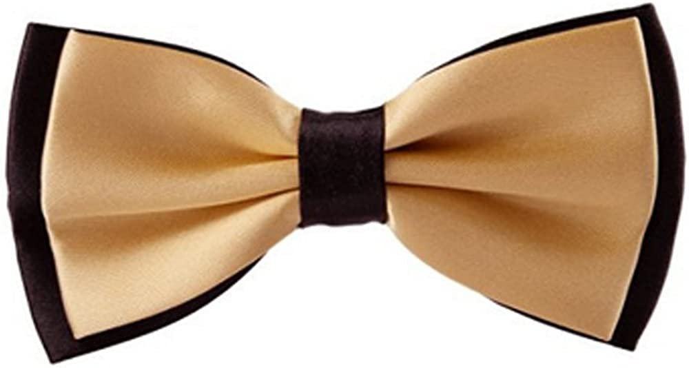 Ainow Mens Fashion Solid Color Tuxedo Pre-tied Adjustable Bow Tie Bowties (Black Champagne)