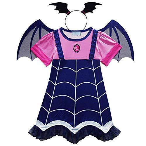 Angel ZYJ Vampirina Disfraces Infantil Niña Princesa Trajes de Halloween Cosplay Vestidos de Carnaval con Diadema y Alas de Murciélago para Niñas 2 a 8 Años (100-2-3 Años)