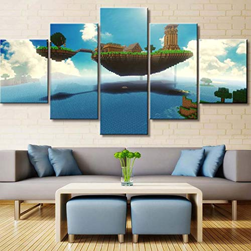 Uhgkt Canvas Schilderijen Canvas Poster Modulaire Beeld Muur Artwork 5 Stks Game Minecraft Landschap Print Schilderij Moderne Home Decoratie