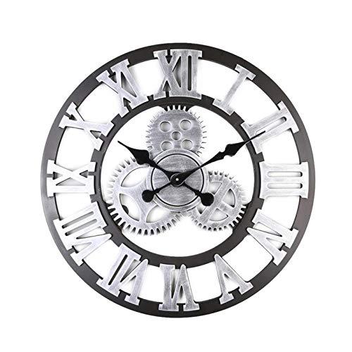 Huaxingda Big Roman - Reloj de pared decorativo vintage grande con engranajes industriales que no hace tictac, funciona con pilas, madera MDF, 15,74 x 15,74 x 5 cm