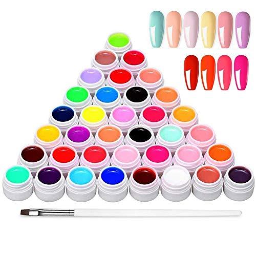 Esmaltes Semipermanentes de Uñas Kit Uñas de Gel Uñas de Gel Kit Completo Gel de Uñas de Gel Pintauñas de Gel 36 Colores Poli Gel Uv Esmalte Pegamento Sólido para Manicura para Niña Mujer