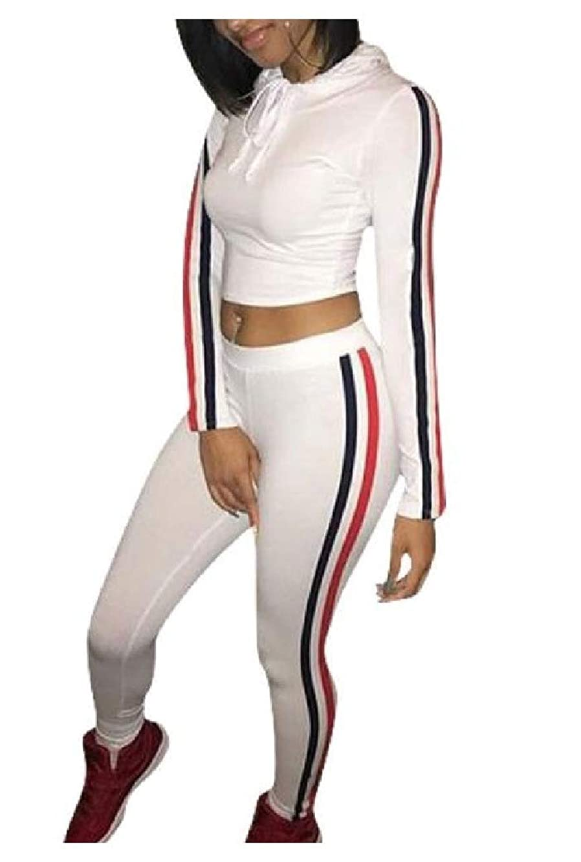 マージおとうさん鳩Candiyer Women's Solid Color Stitch Athletic Casual Two PiecesSweatsuits Outfit