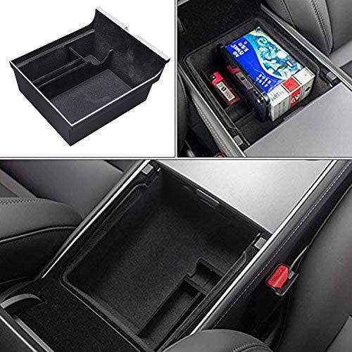 Tesla Model 3 2021 - Reposabrazos de almacenamiento para consola central de coche, multifunción, compartimento de almacenamiento para el coche, organizador con monedas y soporte para gafas de sol
