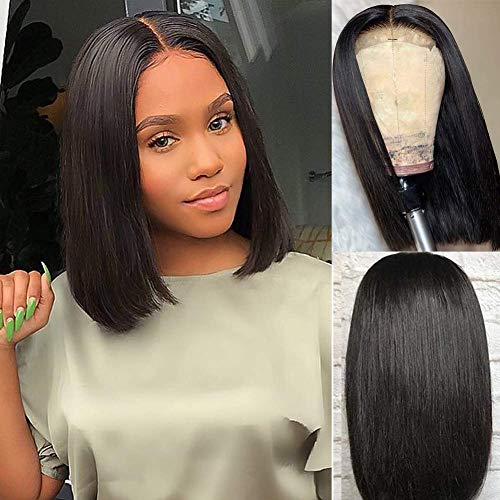 Amella Hair Short Straight Bob Wigs Brazilian Virgin Human Hair Lace Closure Wigs Human Hair Wig (8inch) 4x4 Lace Part 130% Density Pre Plucked with Baby Hair