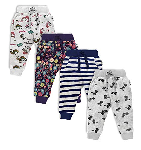 NammaBaby Baby Pajama Print Hem Full Length Lounge Pants Cotton Thick Pants with Pocket – Set of 4