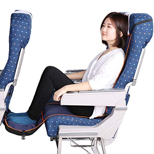 Travel Bread Airplane Footrest Hammock, Portable Travel Footrest with Inflatable Pillows, Adjustable Height Flight Carry-On Foot Rest Hammock Provides...