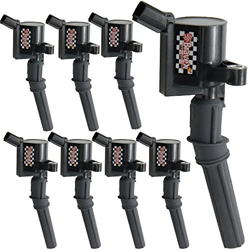 Set of 8 Ignition Coil Pack for Ford F150 F250 F350 4.6L 5.4L V8 V10 DG508 DG457 DG472 DG491 Crown Victoria Expedition Mustang Lincoln Mercury Curved Boot Upgrade