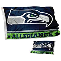 Quality 2 Sided Flag is 3' x 5' in Size and includes Quadruple Stitched Flyends for Extra Durability Made of 2-Ply 100% Polyester with Sewn-In Liner, Each Ply is 150d Thickness, Imported Licensed Seattle Seahawks Screen Printed Logos are Two Sided an...