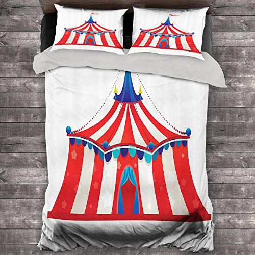Miles Ralph Circus Decor Medium Double Duvet Cover Colorful Striped Circus Marquee Tent with Stars Flag Carnival Performance Illustration Oversized Down Duvet Cover 68'x86' inch