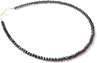 The Bling Stores Black Shiny Crystal Beads Anklet For Women's and Girls (single piece) size adjustable Nazariya, black ank...