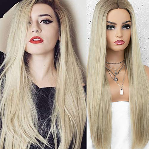 K ryssma Ombre Blonde Wig for Women 22 inch Long Straight Blonde Synthetic Wig with Dark Roots Middle Parting
