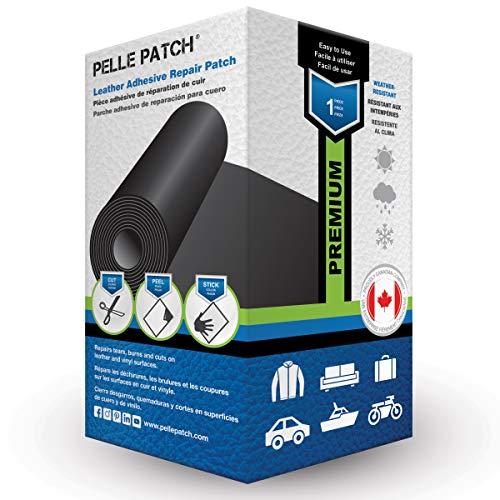 Pelle Patch - Parche Adhesivo de reparación para Cuero y Vinilo - Disponible en 25 Colores - Premium 10cm x 152cm - Negro