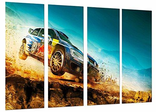 MULTI Houten Afdrukken Art Print Box Ingelijste Beeld Wandopknoping - Sport Wedstrijd Rally, Auto Blauw Race, (Totale Grootte: 51,6