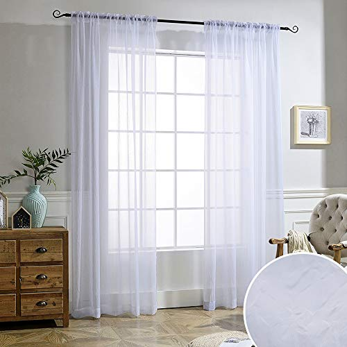 NICETOWN White Sheer Curtains Voile Draperies Rod Pocket & Back Tab Crushed Sheer Window Treatment Voile Curtain Panels for Living Room (1 Pair, 52' Wide x 84' Long)